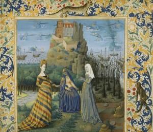 Sebep, Erdem ve Şans,1470-80, Fransa Erdem, Sebep ve Şans iyi ve kötü davranışı tartışır.Çizgili giysili olan Şans'tır. http://www.sothebys.com/en/auctions/ecatalogue/2013/western-manuscripts-miniatures-l13240/lot.16.lotnum.html